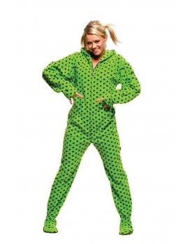 Green Diva Dots Adult Footed onesie Pajamas