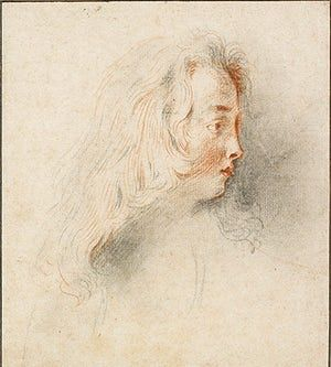 Old master drawings: Antoine Watteau (1684-1721), Head of a Boy facing Right