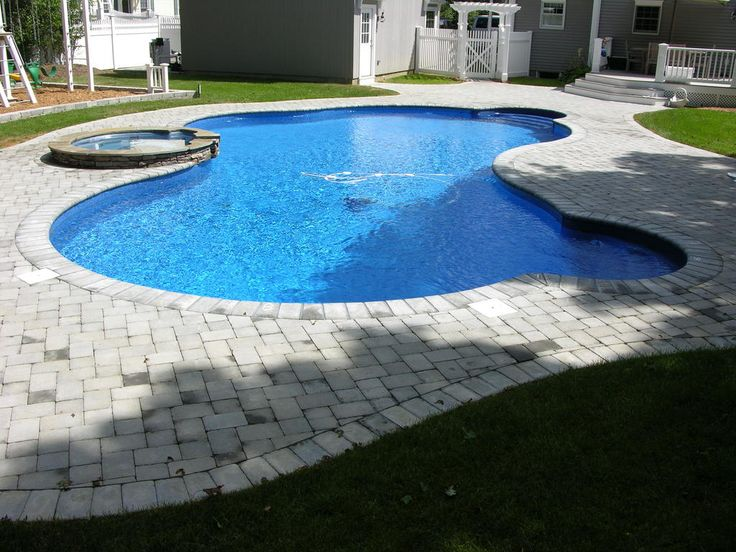 Fiberglass Swimming Pool With Attached Spa And Cool