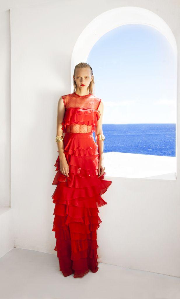 SS 1708 Silk Chiffon Tiered Long Dress, Red