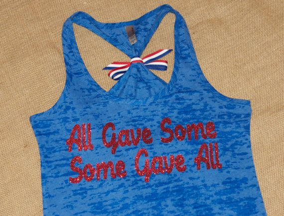 All Gave Some, Some Gave All. Hero. Army. Navy. Military. With BOW. Tank Top. Soft. Women. Size Small - 2XLarge