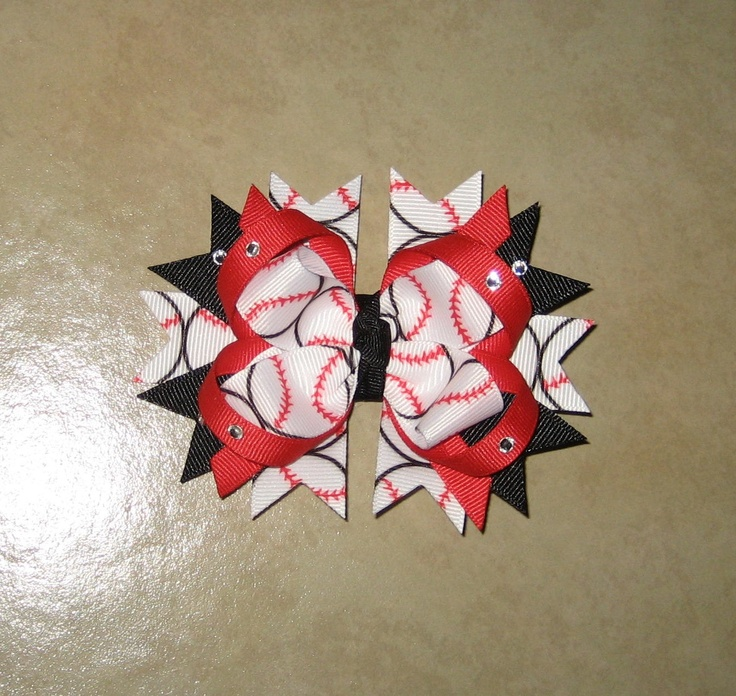 Baseball/Softball stacked boutique hair bow - Choose your team colors - bow can also be made with basketball, football or soccer ribbon. $7.50, via Etsy.