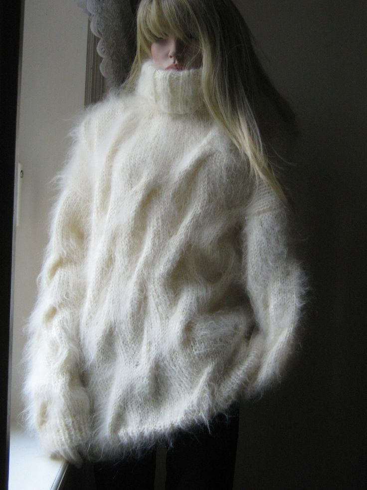 New Chunky Hand Knitted Cream Cable Fluffy Mohair Sweater Jumper L/XL in Clothes, Shoes & Accessories, Women's Clothing, Jumpers & Cardigans | eBay