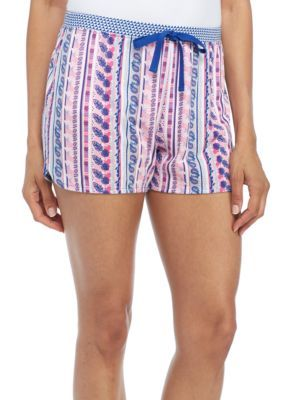 New Directions Women's Floral Stripe Printed Boxer - Floral Stripe - Xl