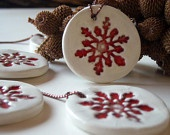 Ceramic Christmas ornament red and white, set of  five , home decor, gift tags