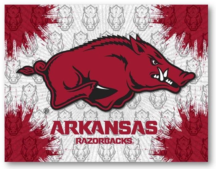 Arkansas Razorbacks D1 Printed Logo Canvas.  Visit SportsFansPlus.com for Details.