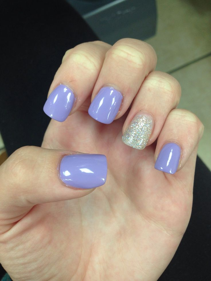 Lavender nails with glitter accent