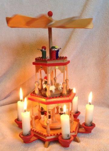 Vtg-Christmas-Pyramid-Erzgebirge-German-3-Tier-6-Candle-Miners-Sheep-Trumpet