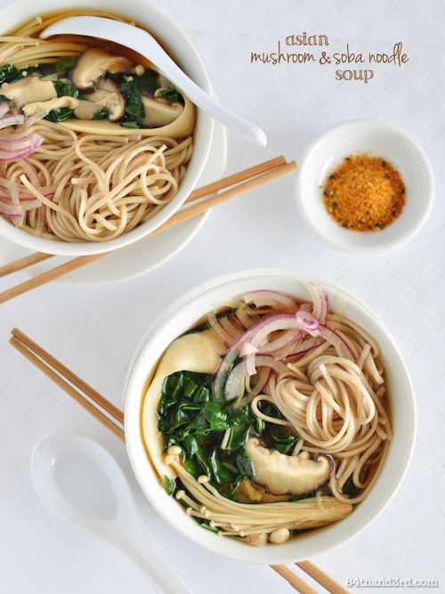 Asian Mixed Mushroom, Kale & Soba Noodle Soup