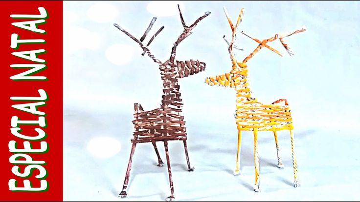 Rena do Papai Noel 🎅 feita com canudos de papel jornal bem diferente