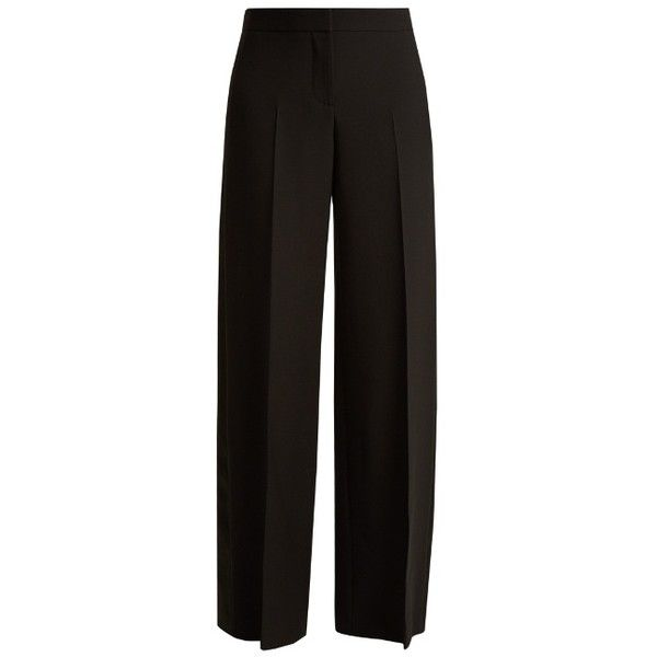 Alexander McQueen Satin-panel wide-leg tuxedo trousers (£845) ❤ liked on Polyvore featuring pants, black, tuxedo stripe pants, tuxedo trousers, tuxedo pants, wide-leg pants and tux pants