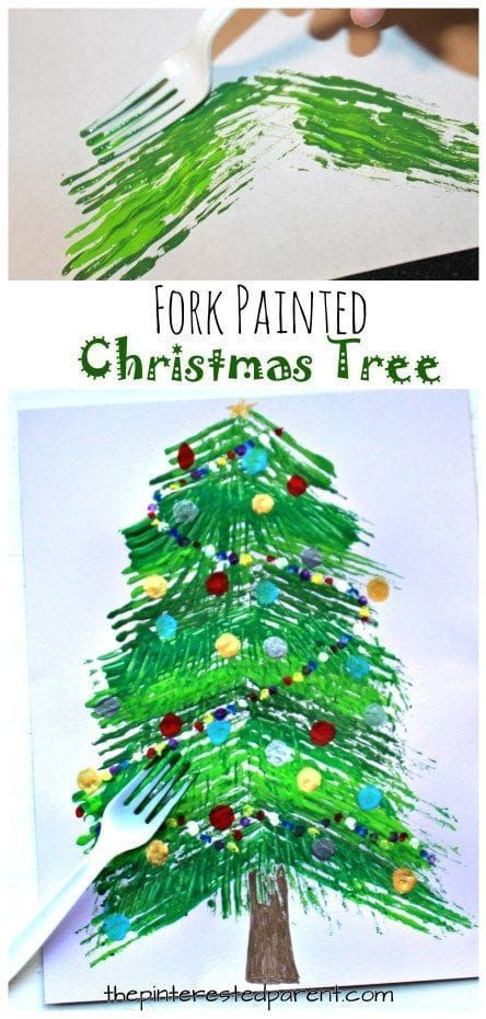 Fork painted Christmas tree - winter arts and crafts projects for
