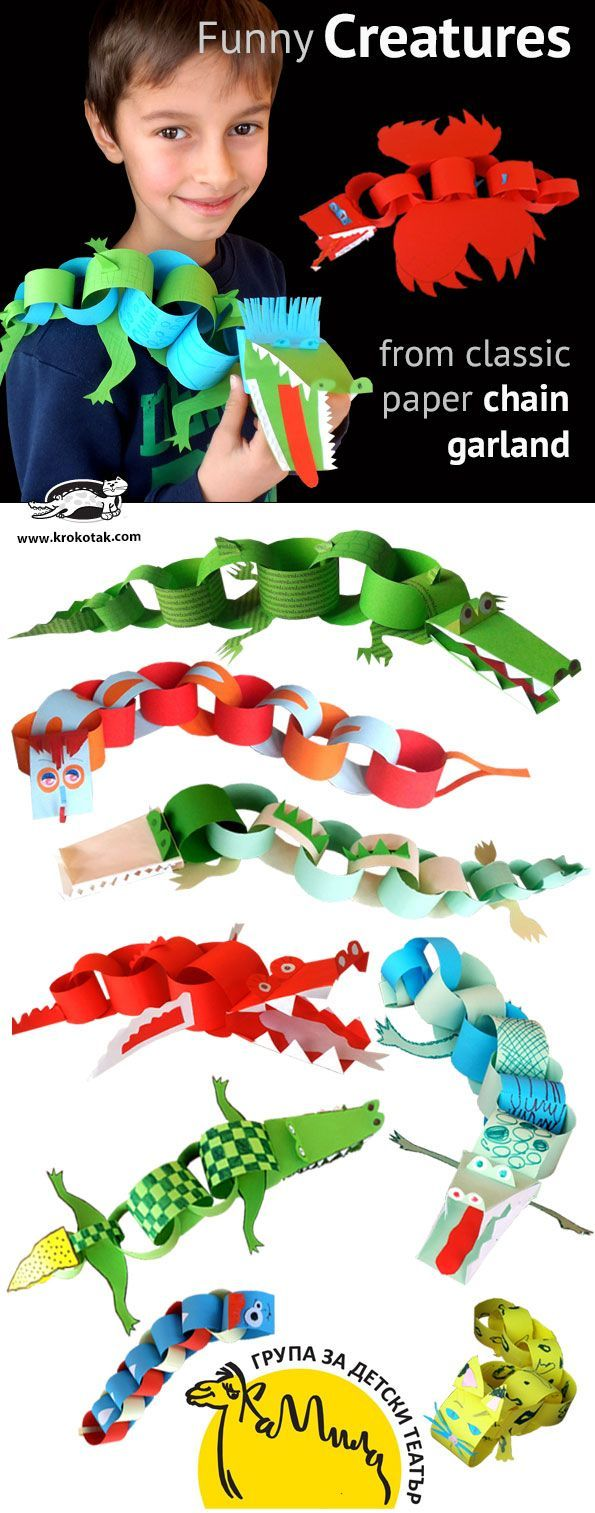 Funny Creatures from paper chain garland