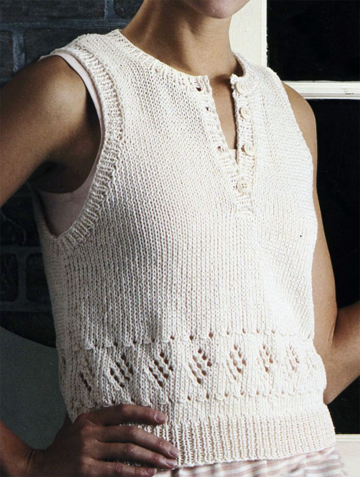 "Free Knitting Pattern for Diamond Lace Top - Free for a couple of weeks from Leisure Arts. Sleeveless pullover top with diamond motifs.  Sizes: Small - 36"" Medium - 40"" Large - 44"". Click on the pin or link below and scroll to the bottom of page for free patterns http://www.shareasale.com/r.cfm?u=1112880&b=146498&m=19565&afftrack=diamondpin&urllink=www%2Eleisurearts%2Ecom%2Ffree%2Dpattern%2Dfriday%2Db%2Da"