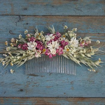 Rustic Country Dried Flower Hair Comb