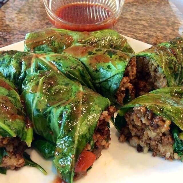 Vegan Stuffed Marinated Collard Greens from 'Ohhdelcious' Cookbook