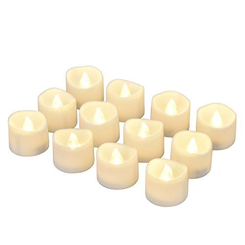 eLander LED Tea Lights Flameless Candle with Timer 6 Hours On and 18 Hours Off 1.4 x 1.6-Inch. 12 Pieces White