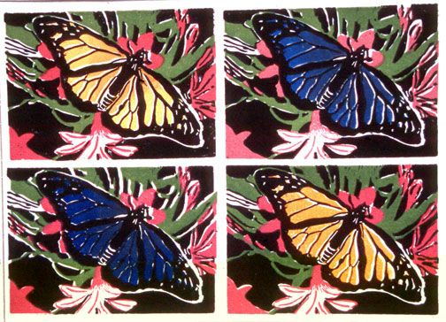 Lesson Plan Linoleum Prints in the style of Andy Warhol for high school or middle school