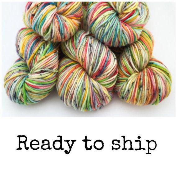 Rainbow sherbet superwash merino DK 100g hand dyed by bykateselene