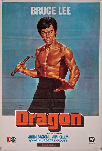 ENTER THE DRAGON Turkish One Sheet Poster (1973) Bruce Lee Kung Fu art by Omer Muz