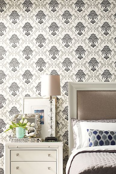Fabricut - Gilded Glamour Wallpapers - black and cream.  Available exclusively in Australia from The Textile Company