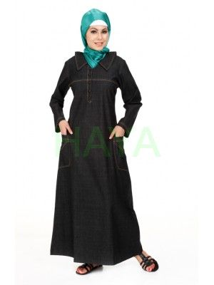 Denim Abaya is a perfect day and work abaya as denim is the most comfortable, trendy and easy cared fabric. Denim abaya is a must have for every Muslim Women.