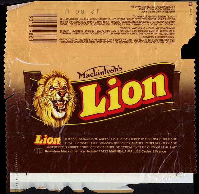 UK - Rowntree-Mackintosh's - Lion - chocolate candy bar wrapper - 1986 by JasonLiebig, via Flickr