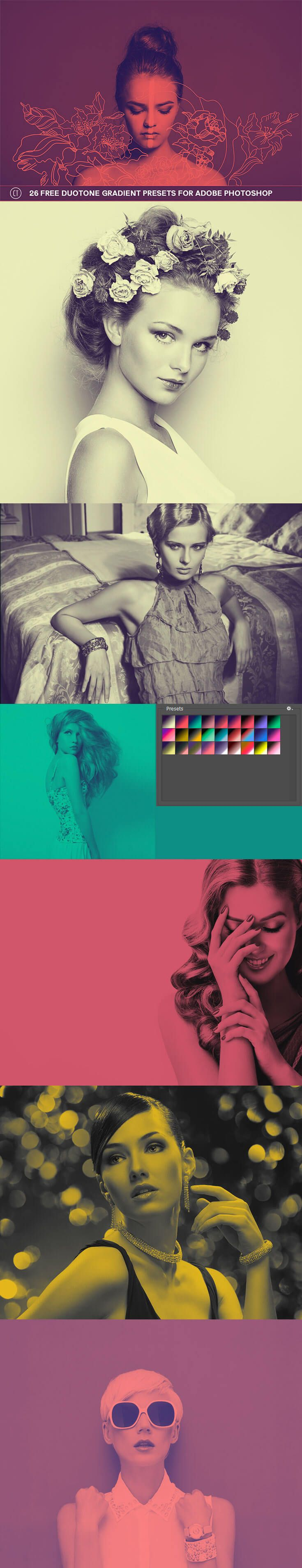 26 Free #Duotone Gradient Presets for Adobe Photoshop users is our new gradient collection presets which contains vibrant and unique colour combinations.