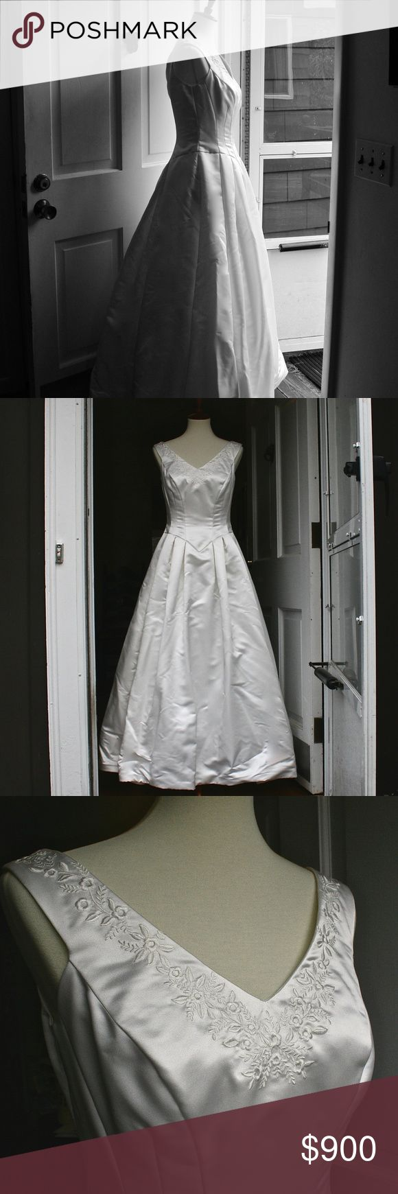 90's Vintage Wedding Dress Satin Size 8 Gorgeous satin wedding gown, approx. size 8.  Originally purchased in '97 or '98. It originally cost $1400. It has been stored in acid-free triple-layer boxes, in a temperature and humidity controlled environment.  It's in great condition, ready for a fairytale wedding! Has two layers of crinolines and a full lining/attached slip.  18 Buttons at back cover a hidden zipper, which has a hook closure at top. Bust Width: 17 inches Waist Width: 15 inches…