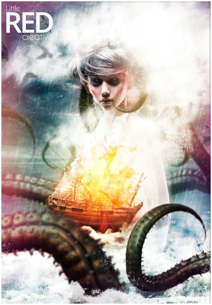 the Sea siren #Photoshop, #Digitalart, #Ocean #monsters