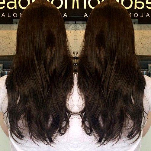 very dark brown hair