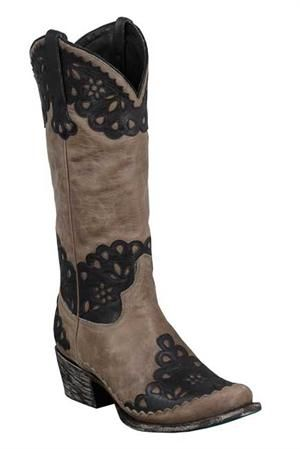 Black lace, anyone? Lane Women's Brown Petticoat Cowgirl Boots