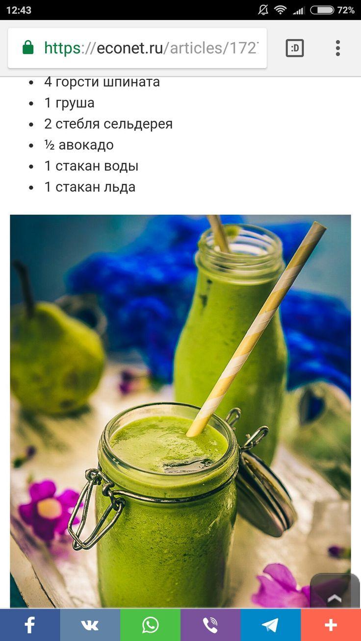 """Смузи """"зелёная богиня"""" шпинат, груша, сельдерей."""