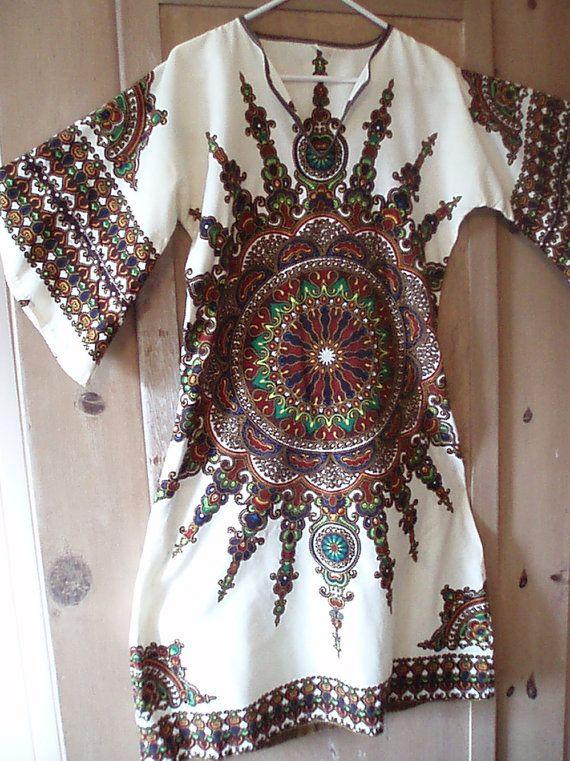 Had on like this in high school. Vintage 1960s Hippy Angel Wing Sunburst Dress by FunkydevazVintage, $25.00