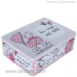 """Laroom - Caja de metal """"la caja del bebé"""" rosa"""