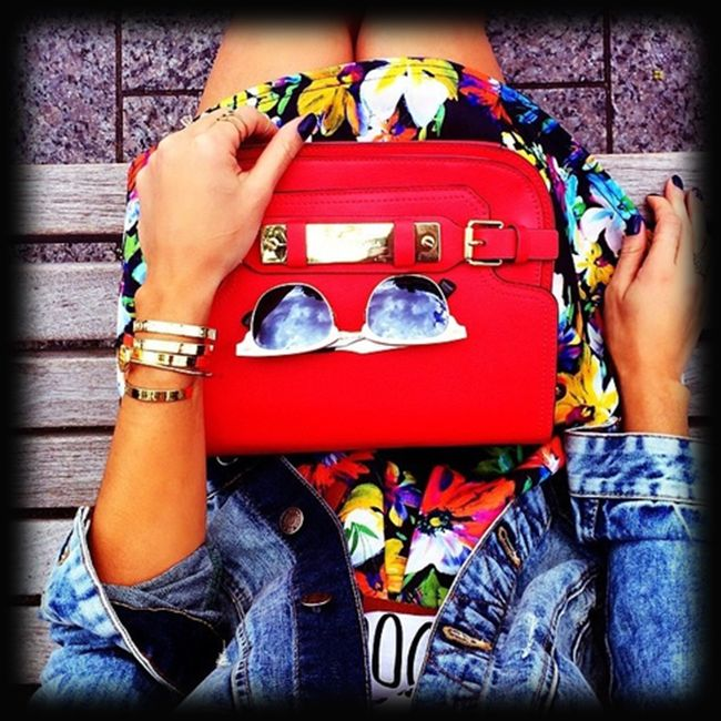 Thursday's get up..blue denim with floral print  bright red!