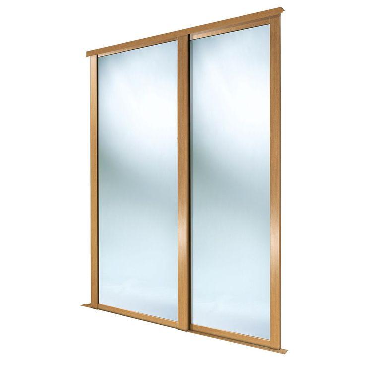 Full Length Mirror Natural Oak Effect Sliding Wardrobe Door (H)2223 mm (W)914 mm, Pack of 2 | Departments | DIY at B&Q
