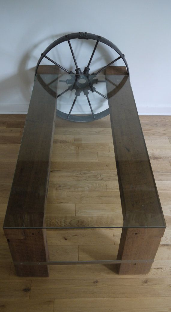 Reclaimed Wood and Glass Coffee Table. Metal by TicinoDesign