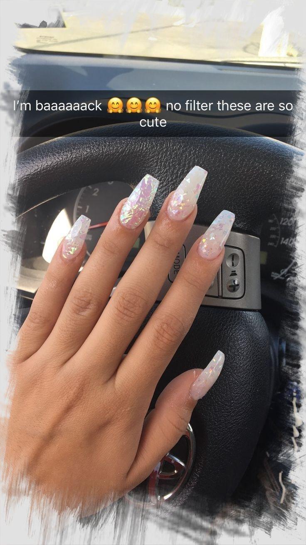 100 Pretty Acrylic Nail Designs Coffinnails Ombrenails In 2020 White Acrylic Nails Summer Acrylic Nails Best Acrylic Nails