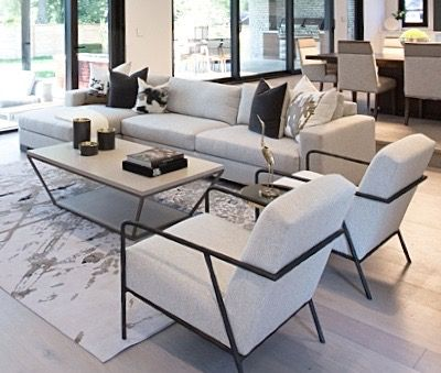 #Marguerite house great room from #BryanInc seen on #HGTVCanada featuring furniture from Cocoon: #Declan sectional, #1296 chairs, #Blair cocktail table and #Fluxus rug. Photo: #AlisonSpencer. #bryanbaeumler #sarahbaeumler