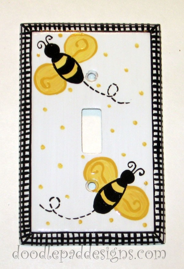 Bumble Bee Dinnerware | Bumble Bee Switch plate cover hand painted by doodlepaddesigns