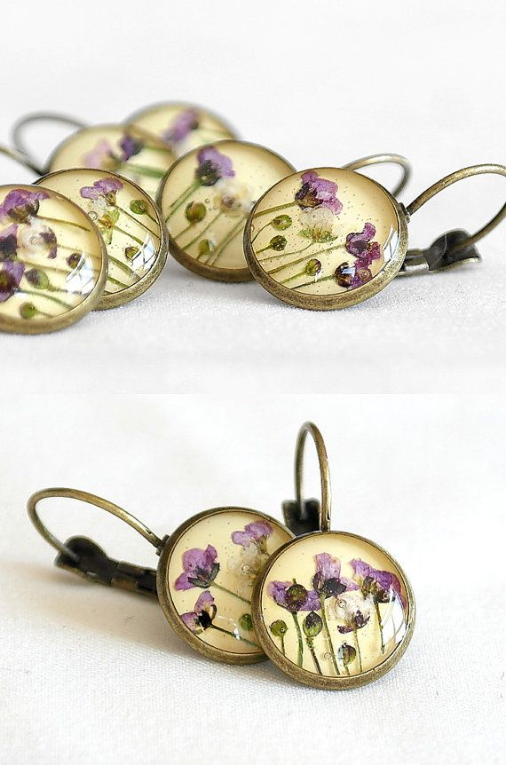 Yellow earring Real dried flower earring Women accessories Copper earring art Spring Celebrations Botanical jewelry Mother's Day Gift