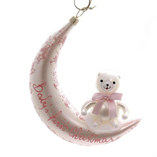 De Carlini Baby's First Christmas Pink Glass Ornament Birth  - Italian