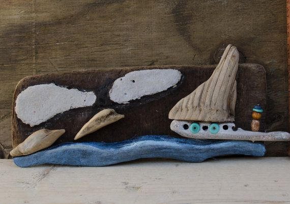 Driftwood oceon wall hanging..rustic home by JunkSoupArt on Etsy