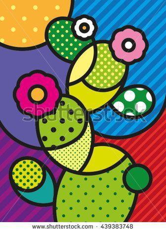 Pop Art Modern Vector Illustration Cactus for your design