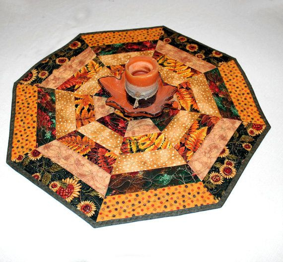 Octagon Autumn Table Runner Quilt or Candle Mat with Sunflowers, Leaves and Dots in Gold, Green and Brown, Quilted Fall Table Runner