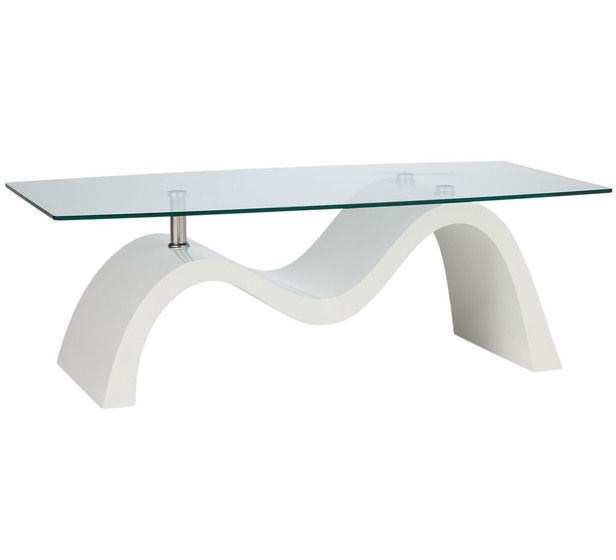 White And Glass Coffee Table $179 Fantastic Furniture Wave