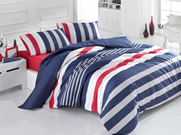 Stripe Ranforce Double Quilt Cover Set Es 121vcq22287 Dark Blue Grey White Red Duvet Cover Sets Kids Duvet Cover Boys Duvet Cover
