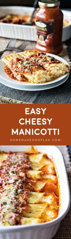 Easy Cheesy Manicotti! Bring a restaurant classic to your dinner table with this easy cheesy recipe! Use Bertolli marinara sauce and cut your cook time in half! | HomemadeHooplah.com #spon