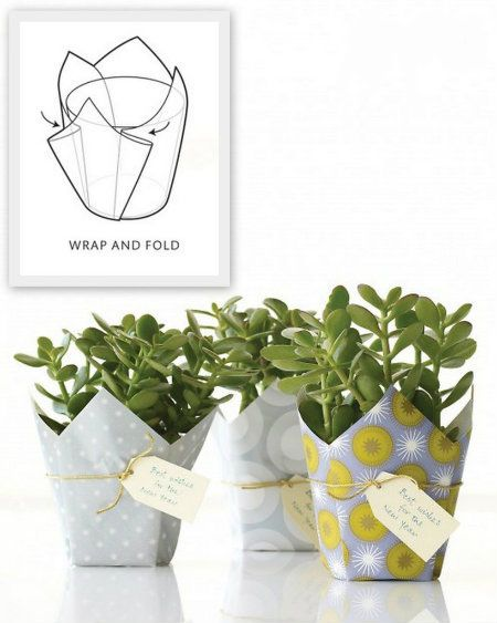 Wrap a plant in a square of pretty paper or fabric: | 24 Cute And Incredibly Useful Gift Wrap DIYs